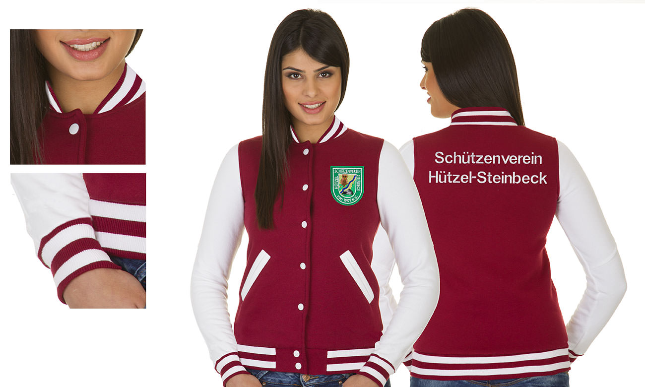 College-Jacken ST-470 Bordeaux-Weiss Damen