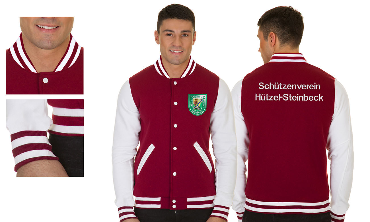 College-Jacken ST-470 Bordeaux-Weiss Herren