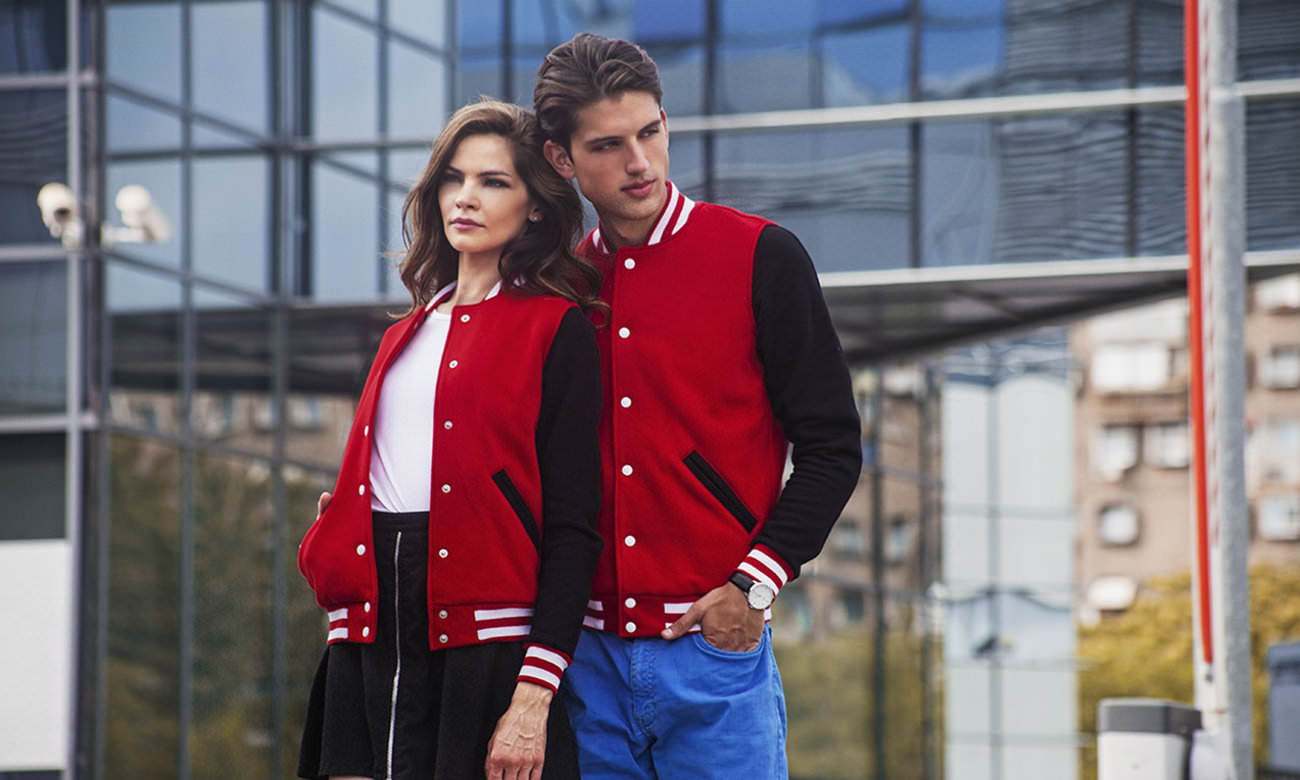 College-Jacken ST-470 Rot-Schwarz Fashion