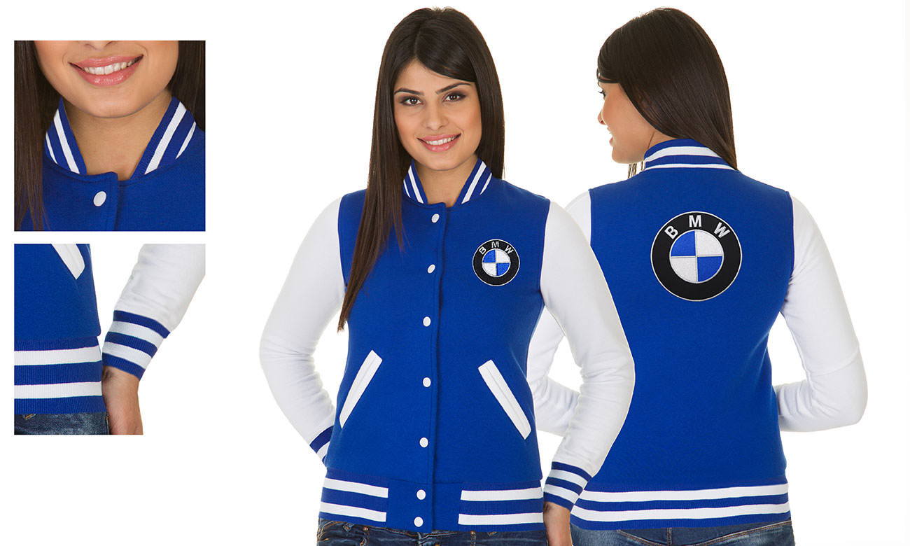 College-Jacken ST-470 Royalblau-Weiss Damen