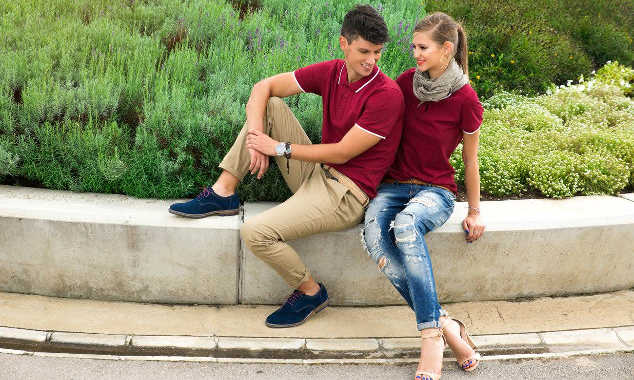 Poloshirts ST-203 Bordeaux-Weiss Fashion