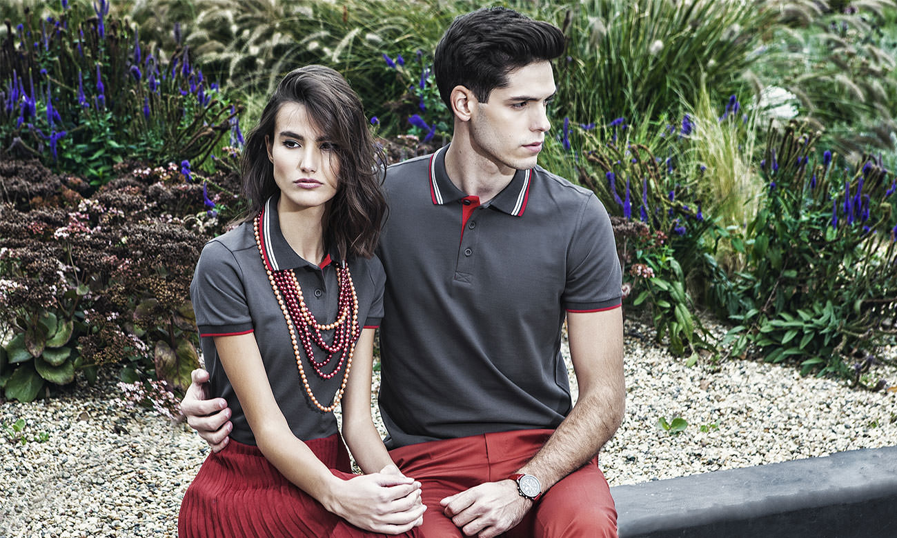 Poloshirts ST-212 Mousegray-Rot Fashion