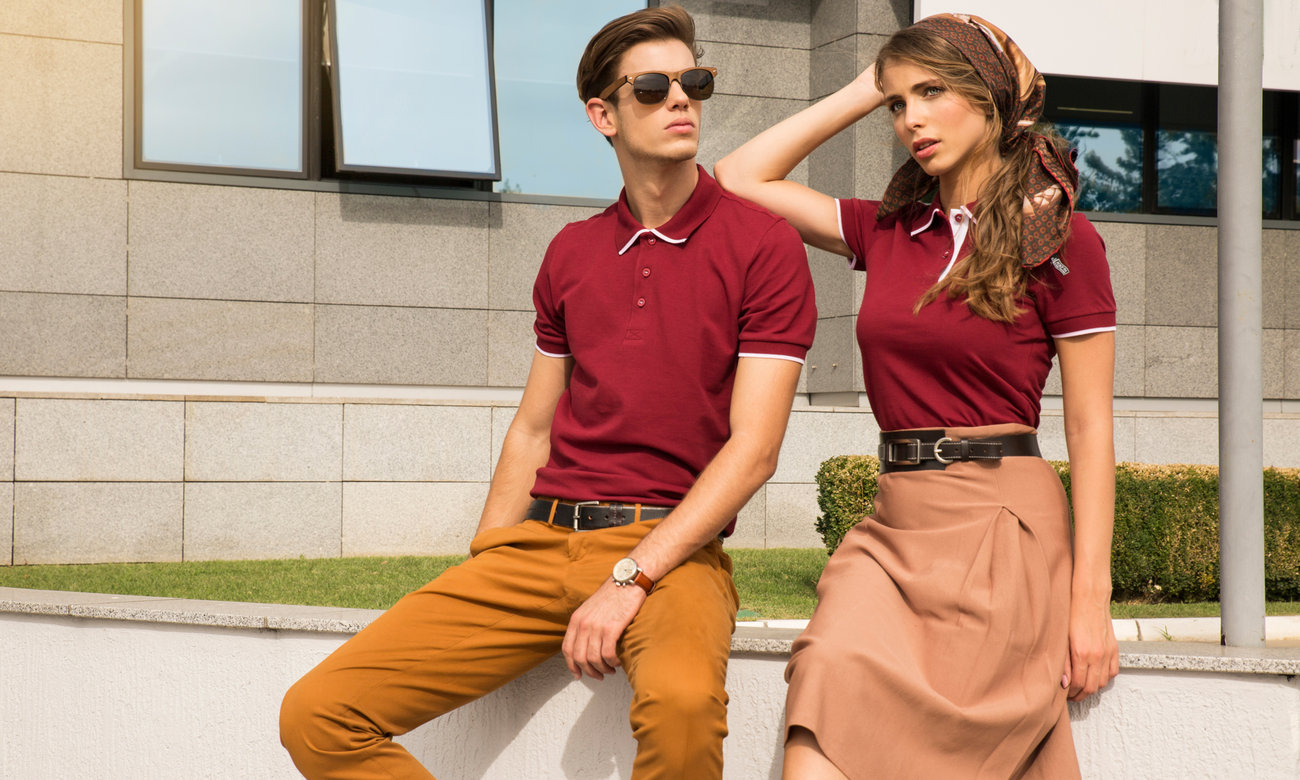 Poloshirts ST-213 Bordeaux-Weiss Fashion