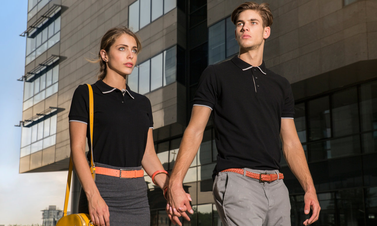 Poloshirts ST-213 Schwarz-Anthrazit Fashion