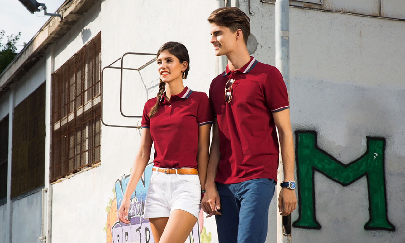 Poloshirts ST-214 Bordeaux-Dunkelgrün Fashion