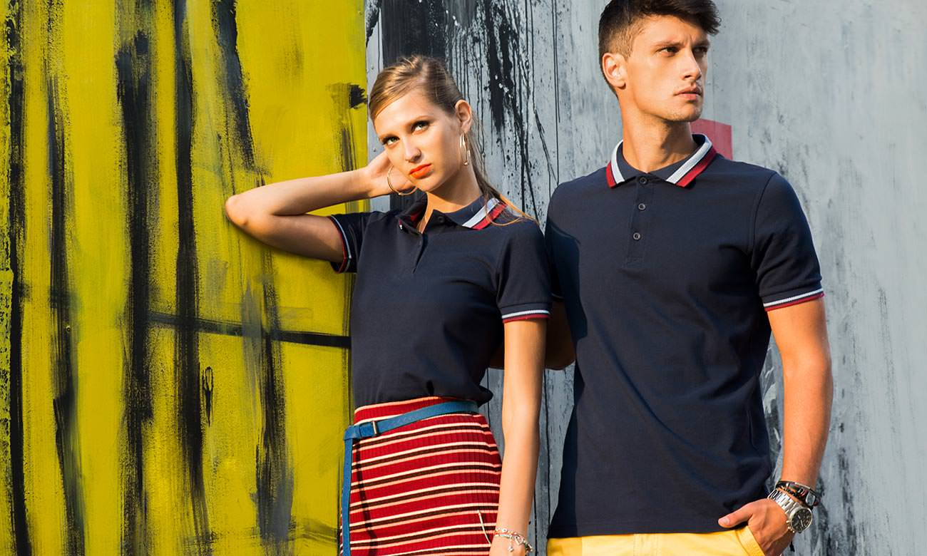 Poloshirts ST-214 Dunkelblau-Bordeaux Fashion