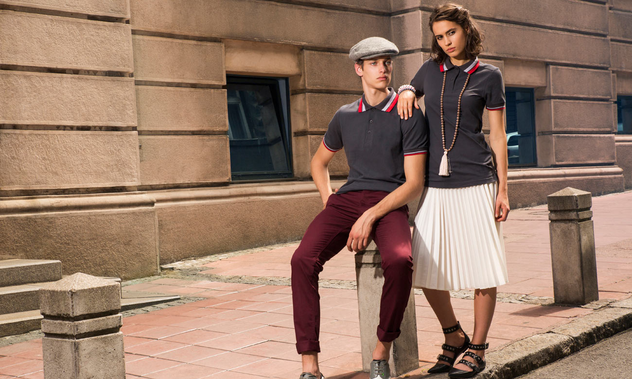 Poloshirts ST-214 Mousegray-Rot Fashion