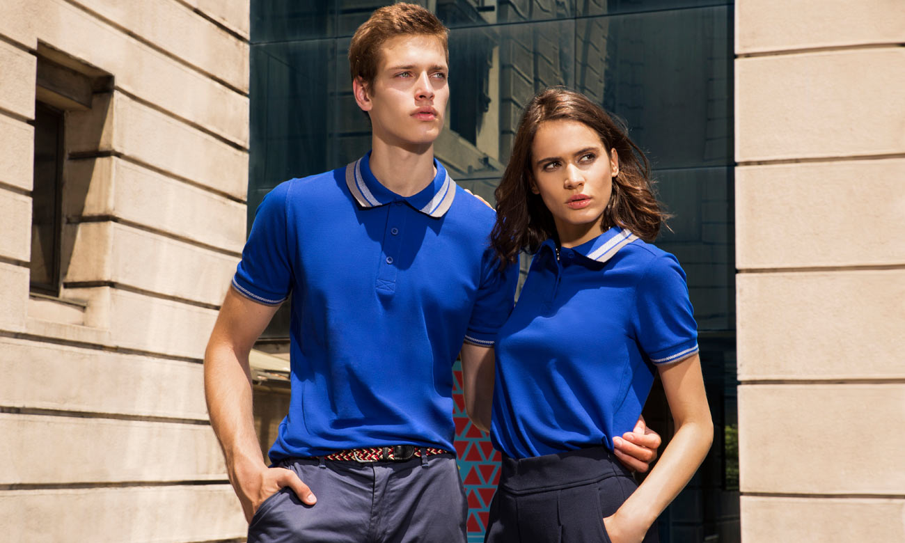 Poloshirts ST-214 Royalblau-Anthrazit Fashion