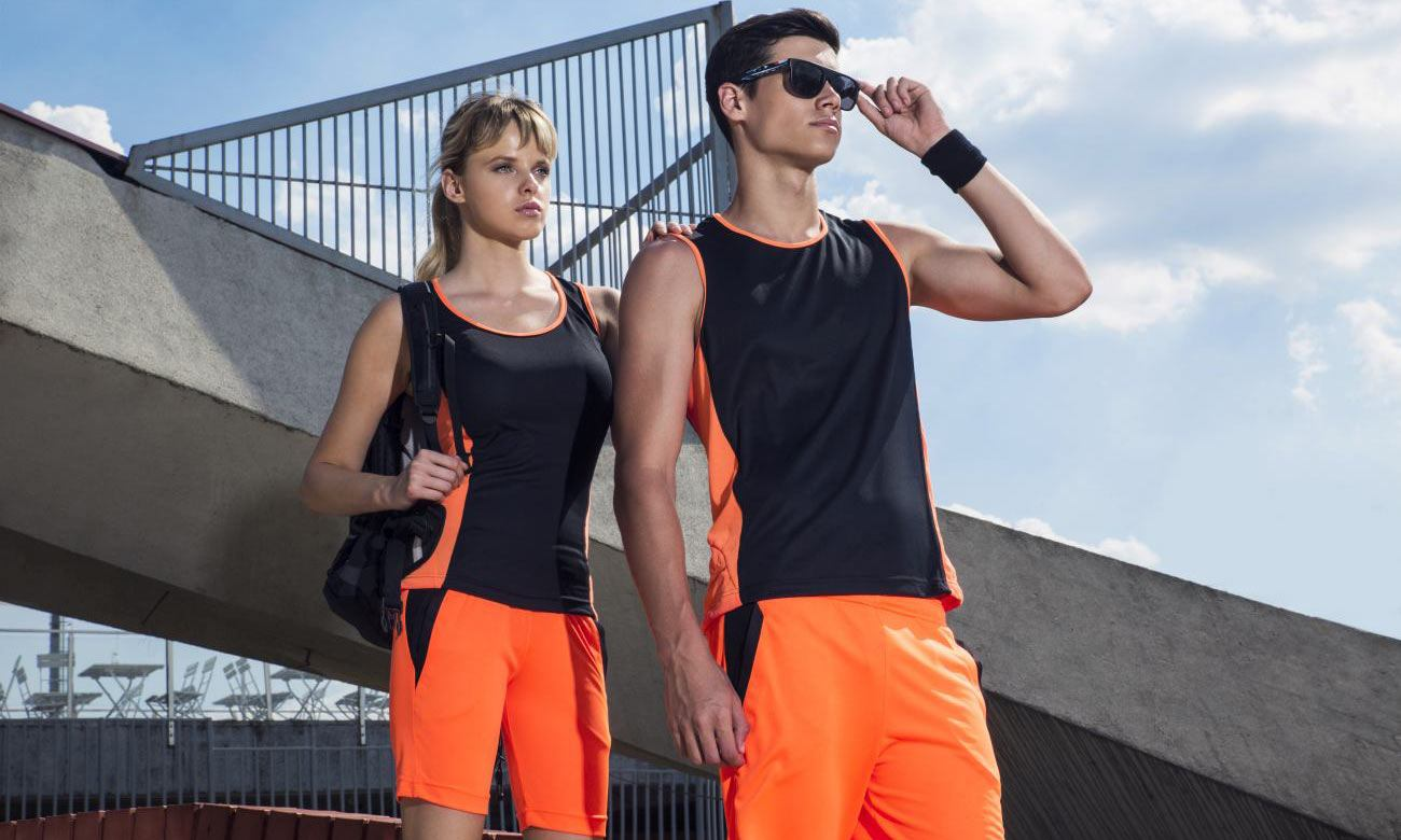 Sporthosen Kurz ST-615 Neon Orange-Schwarz Fashion