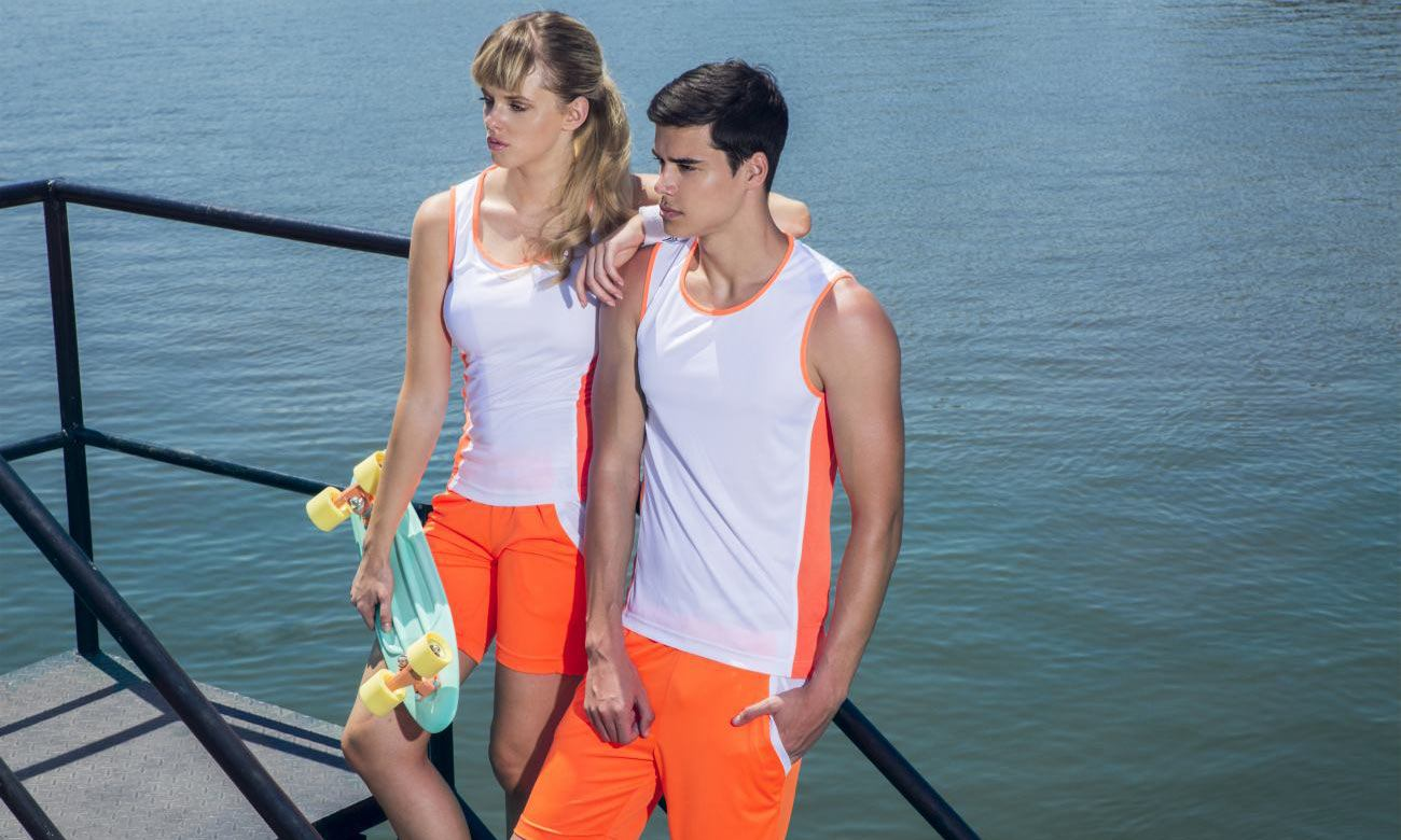 Sporthosen Kurz ST-615 Neon Orange-Weiss Fashion