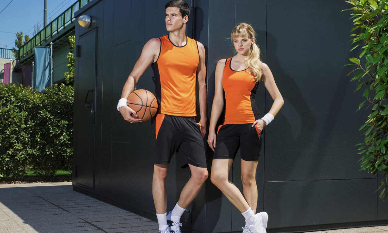 Sporthosen Kurz ST-615 Schwarz-Orange Fashion