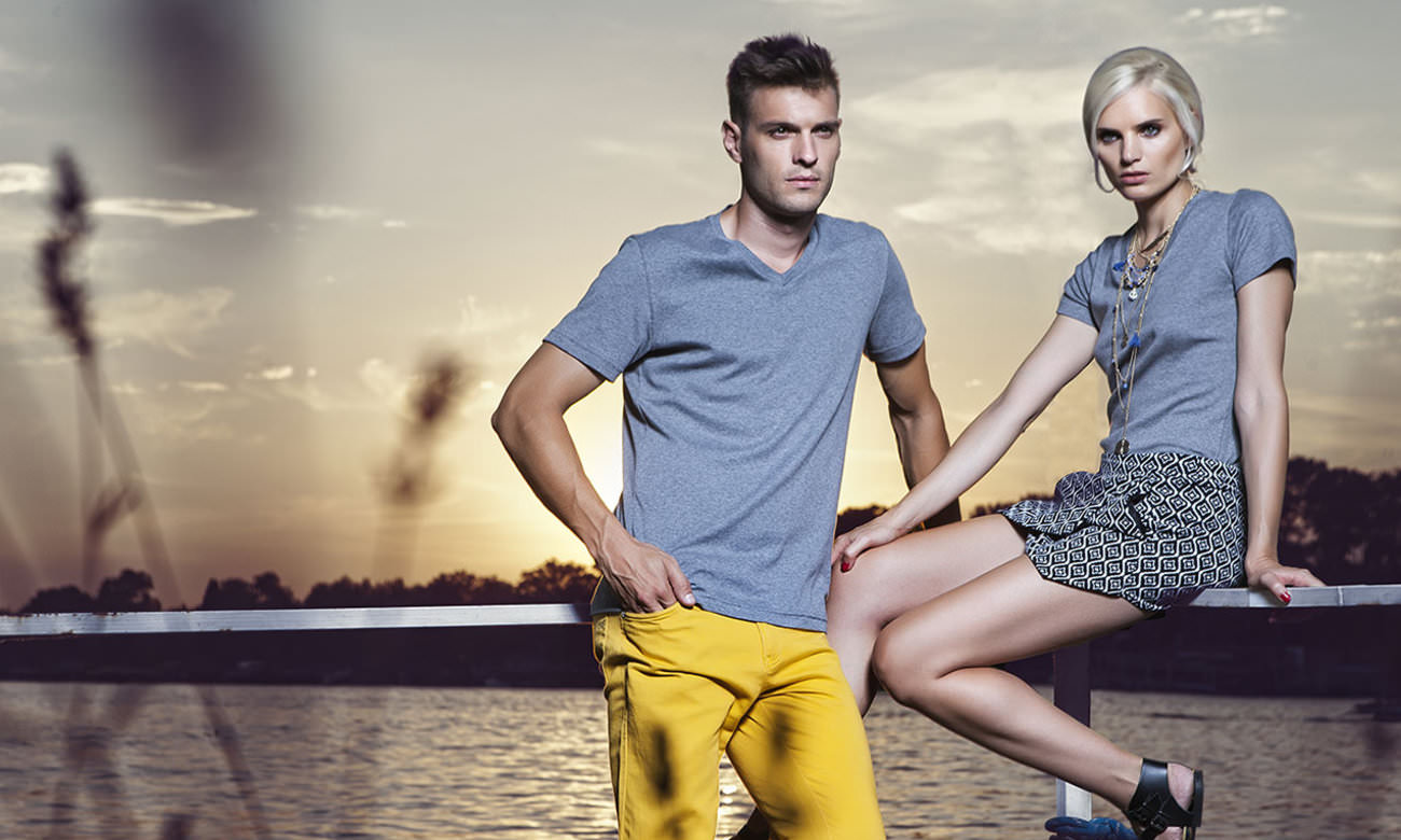 T-Shirts V-Ausschnitt Kurzarm ST-105 Anthrazit Fashion