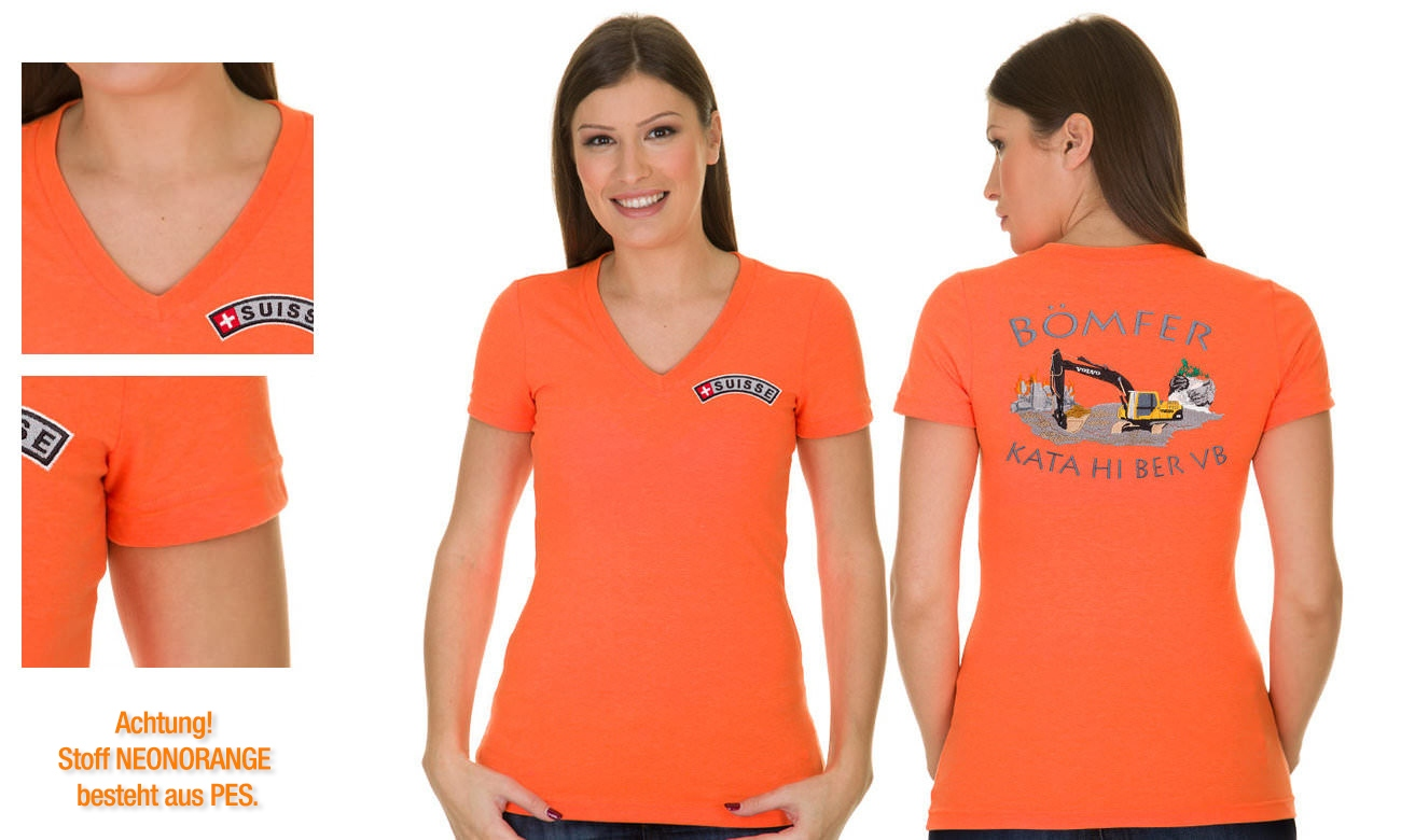 T-Shirts V-Ausschnitt Kurzarm ST-105 Neon Orange Damen