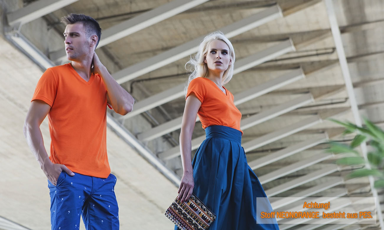 T-Shirts V-Ausschnitt Kurzarm ST-105 Neon Orange Fashion