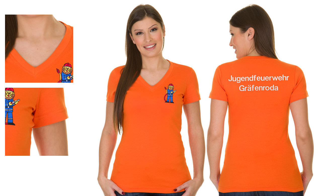T-Shirts V-Ausschnitt Kurzarm ST-105 Orange Damen
