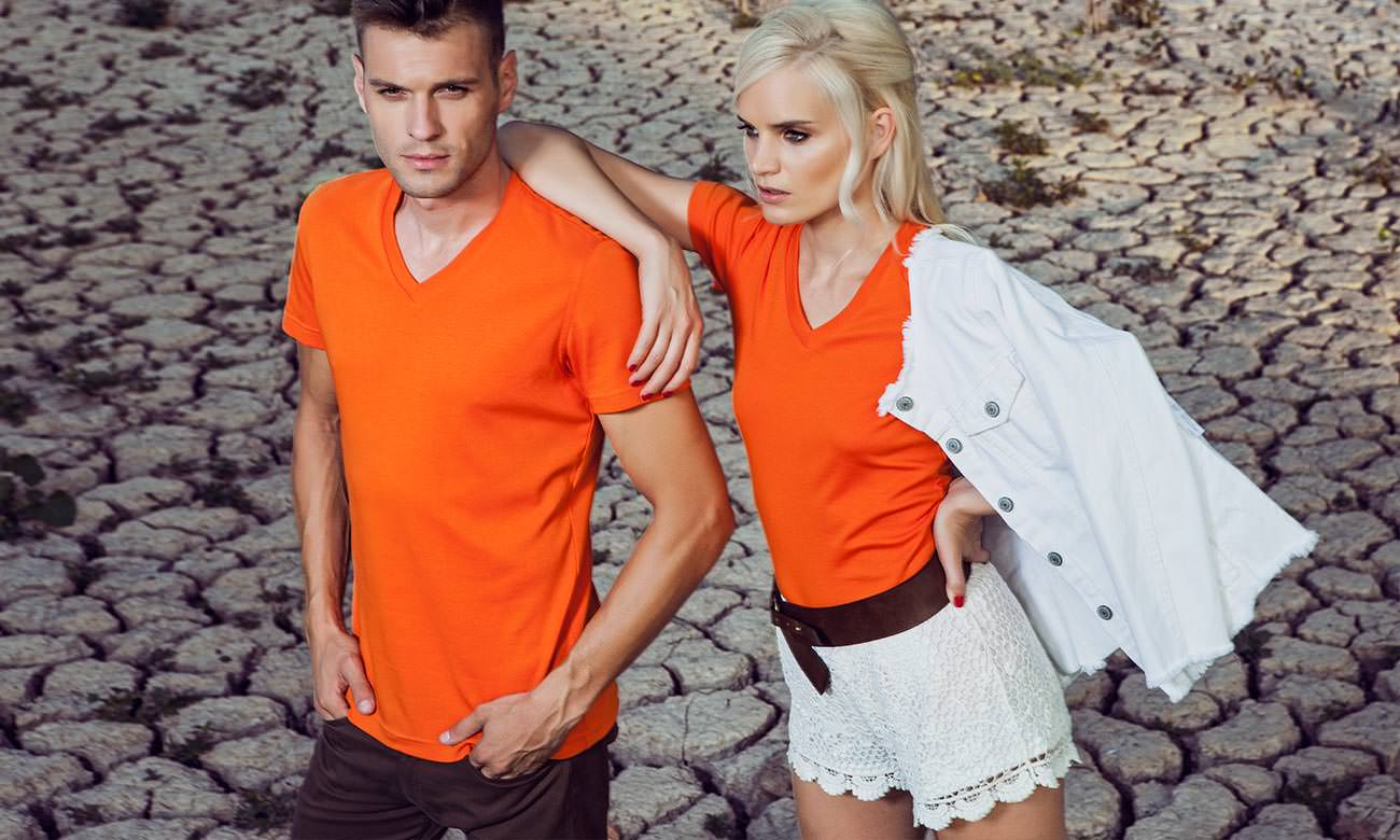 T-Shirts V-Ausschnitt Kurzarm ST-105 Orange Fashion